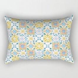 Blue and yellow tiles Rectangular Pillow