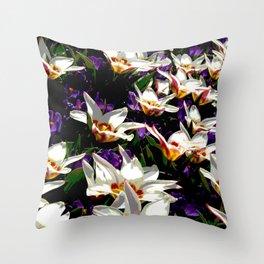 Tulips & Crocuses Throw Pillow