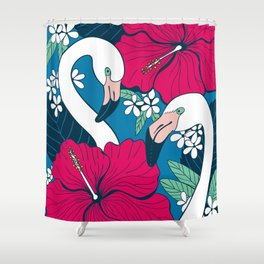 Flamingos and tropical flowers and leaves Shower Curtain