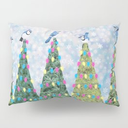 blue jays and Christmas trees Pillow Sham