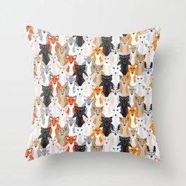 Friendly Foxes Throw Pillow