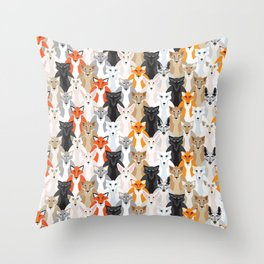 Friendly Foxes Throw Pillow