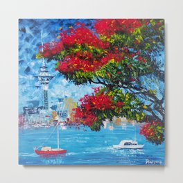Kiwi Summer is... Boat, Sea, Blue Sky, Red Pohutukawa - New Zealand Art Series Metal Print