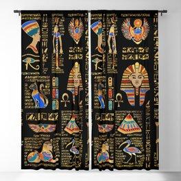 Egyptian hieroglyphs and deities on black Blackout Curtain