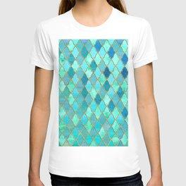 Aqua Teal Mint and Gold Oriental Moroccan Tile pattern T-shirt