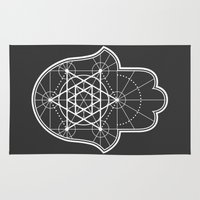 sacred geometry Area & Throw Rugs featuring Sacred Geometry Hamsa by Megan Carty