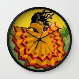african long dress woman dancing Wall Clock