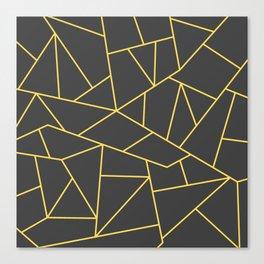 Mustard Yellow Mosaic Lines On Vey Dark Gray Canvas Print