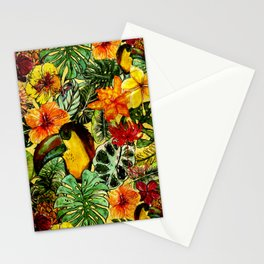 Tropical Vintage Exotic Jungle Flower Flowers - Floral watercolor pattern Stationery Cards