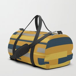 Wright 3 Geometric Midcentury Modern Pattern in Navy Blue, Mustard, and Gray Duffle Bag