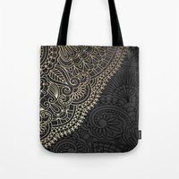 black and gold Tote Bags featuring black & gold by Pink Berry Patterns