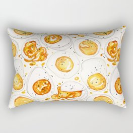 Cooked Eggs Watercolor Rectangular Pillow