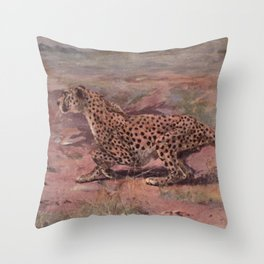 Vintage Cheetah Painting (1909) Throw Pillow