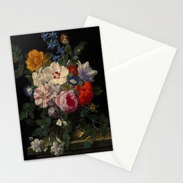 """Nicolaes van Veerendael """"Flowers in a glass vase with a butterfly and beetle on a stone ledge"""" Stationery Cards"""