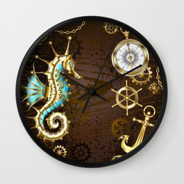 Wooden Background with Mechanical Seahorse ( Steampunk ) Wall Clock