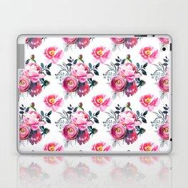 Hand painted blush pink gray yellow watercolor roses pattern Laptop & iPad Skin