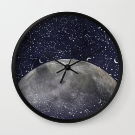 Mystic Galaxy Constellation Moon Stars and Cosmic Space White Wall Clock