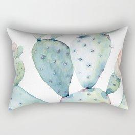 Pastel watercolor prickly pear cactus Rectangular Pillow