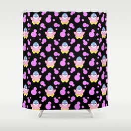 Cute sweet lovely little baby penguins flapping wings, bold pink retro dots black nursery pattern Shower Curtain