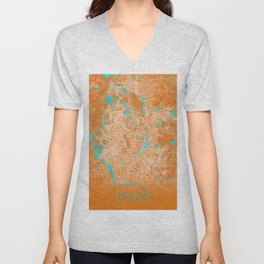 Dhaka, Bangladesh, Gold, Blue, City, Map Unisex V-Neck