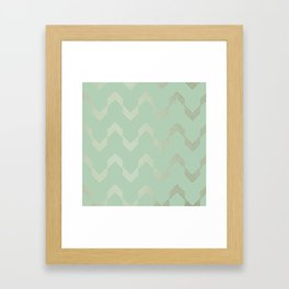Simply Deconstructed Chevron in White Gold Sands and Pastel Cactus Green Framed Art Print