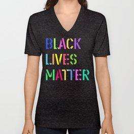 Black Lives Matter Colorful Stencil 1 Unisex V-Neck