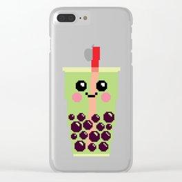 Happy Pixel Bubble Tea Clear iPhone Case