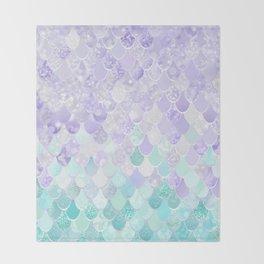 Mermaid Iridescent Purple and Teal Pattern Throw Blanket