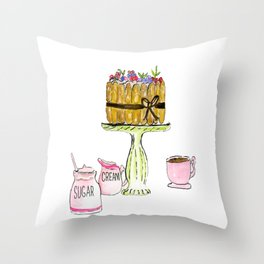 Watercolor Of Charlotte French Cake With Coffee Throw Pillow