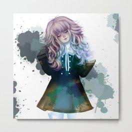anime-blue-watercolor-tinta Metal Print