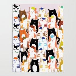 Beret Cats Poster