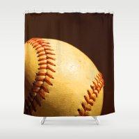 baseball Shower Curtains featuring Baseball by Janice Sullivan