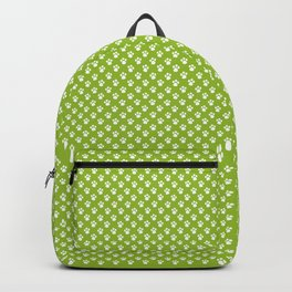 Tiny Paw Prints Pattern - Bright Green & White Backpack