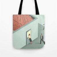 psychology Tote Bags featuring Brain Room by Davide Bonazzi