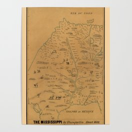 Map Of The Mississippi River 1682 Poster
