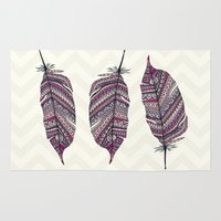 feather Area & Throw Rugs featuring FEATHER by Monika Strigel
