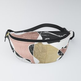 Modern white black marble rose gold foil color block handdrawn geometric lines Fanny Pack