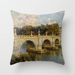 French Impressionistic Arched Bridge Throw Pillow