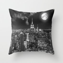 New York Under the Moon Throw Pillow