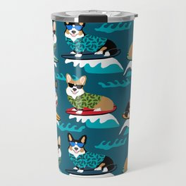 Surfing Corgis Dog summer beach hang 10 catch a wave summer dog pattern Travel Mug