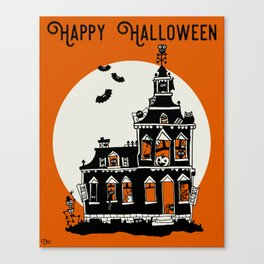 Vintage Style Haunted House - Happy Halloween Canvas Print