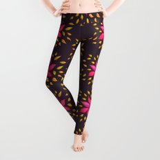 Whimsical Watercolor Floral Pattern In Pink And Purple Leggings