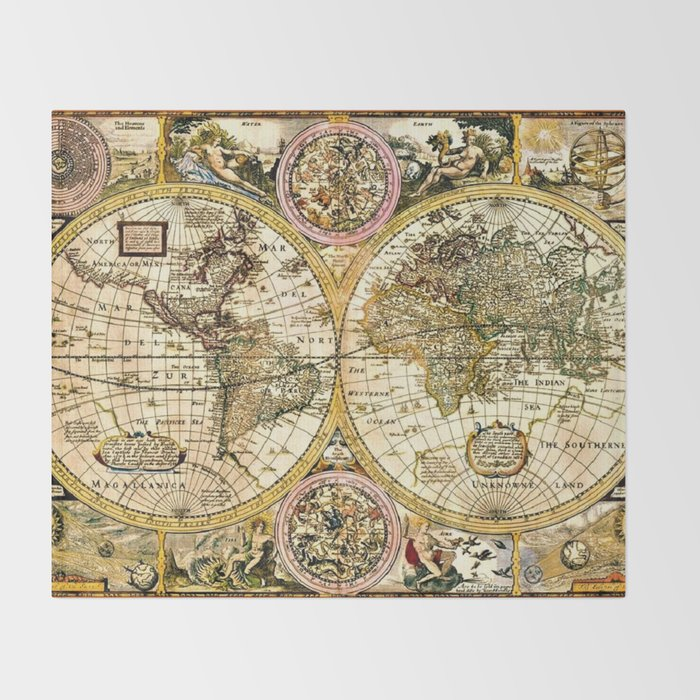 15th Century World Map Gorgeous Old World Map Art from 15th Century Throw Blanket by