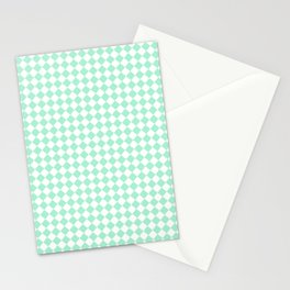 White and Magic Mint Green Diamonds Stationery Cards