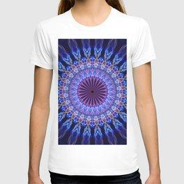 Mandala in light and dark blue, pink tones T-shirt