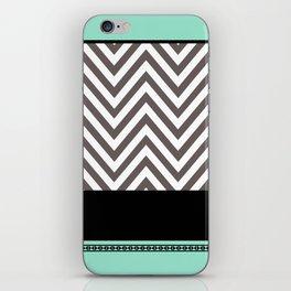 Chevron Striped Seafoam Aqua, Grey, Black iPhone Skin