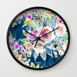 NAVY SO LUSCIOUS Colorful Watercolor Floral Print Wall Clock