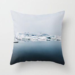 Ethereal Glacier Lagoon in Iceland - Landscape Photography Throw Pillow
