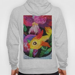 embroidered gold fish with pink flowers Hoody
