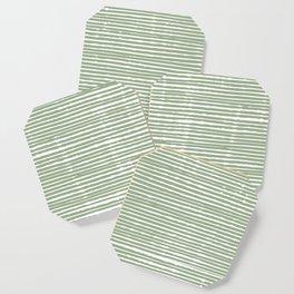 Abstract Stripes, Sage Green, Boho Wall Art Coaster